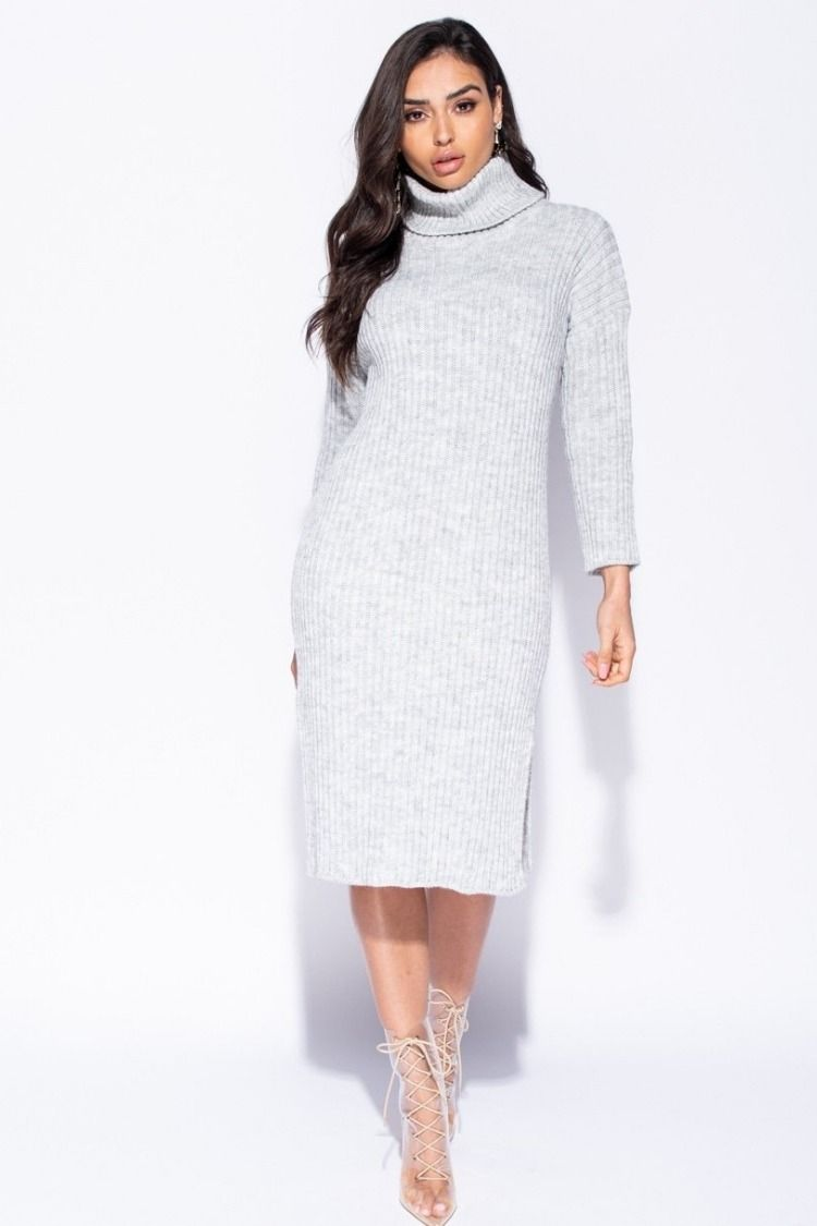 04f69217f10 Rib Knitwear Turtleneck Jumper Dress - Grey thewas.co.uk £32.99 ...