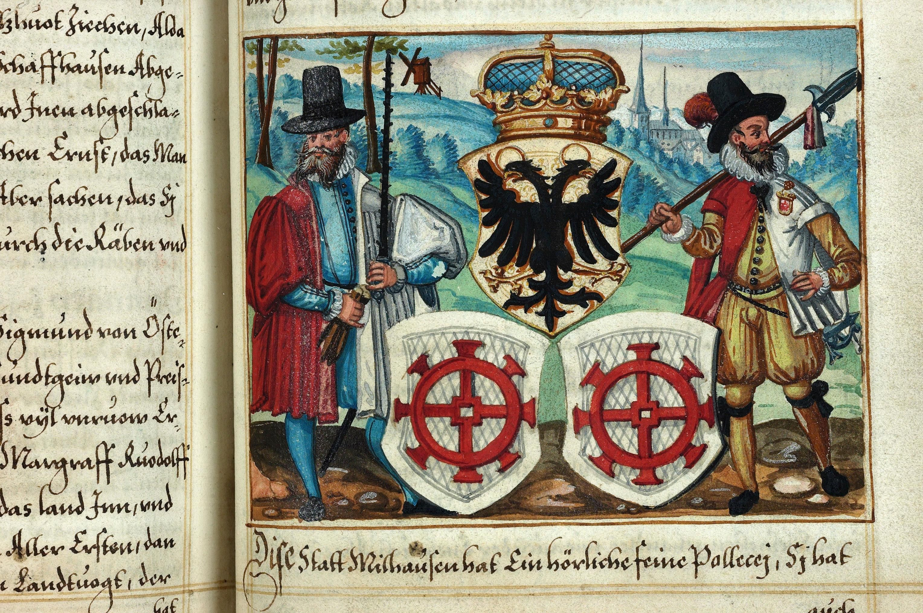 Heraldic detail from a 16th century Swiss chronicle