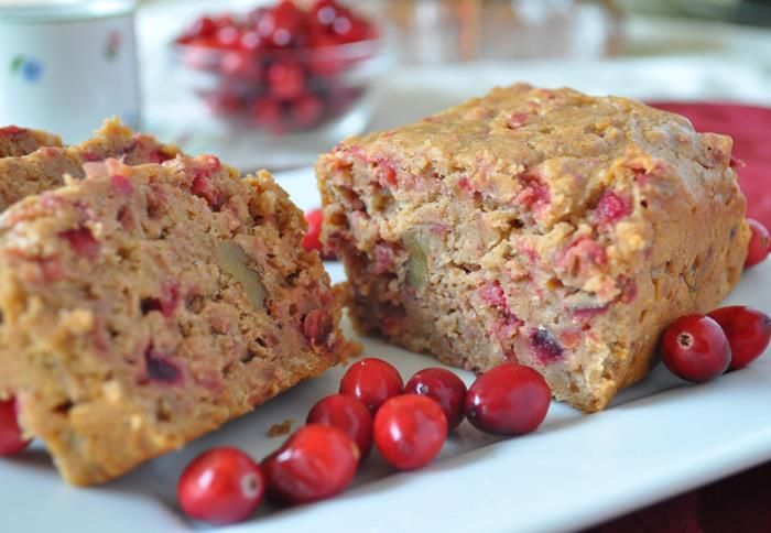 Easy Cranberry Yam Bread - 1 (8-ounce) package reduced-fat cream cheese, softened  1 cup sugar  1 (15-ounce) can sweet potatoes (yams), drained and mashed  2 eggs  1 1/2 cups biscuit baking mix  1 teaspoon ground cinnamon  1/2 teaspoon ground nutmeg  1 cup dried cranberries, or 1 cup chopped fresh cranberries