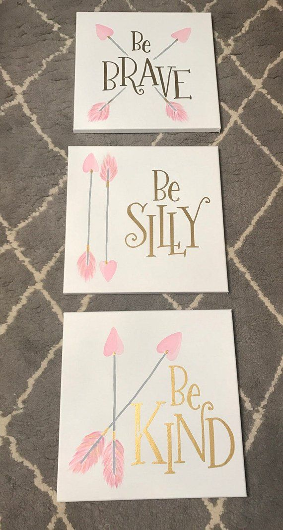 Be brave Be kind Be silly Canvas Trio for Girls Room Nursery decor Baby girl nursery pictures