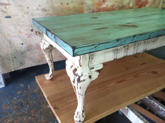 Rustic Distressed Table By Reduxd On Etsy 220 00 Eclectic Coffee Tables Painted Coffee Tables Painted Furniture