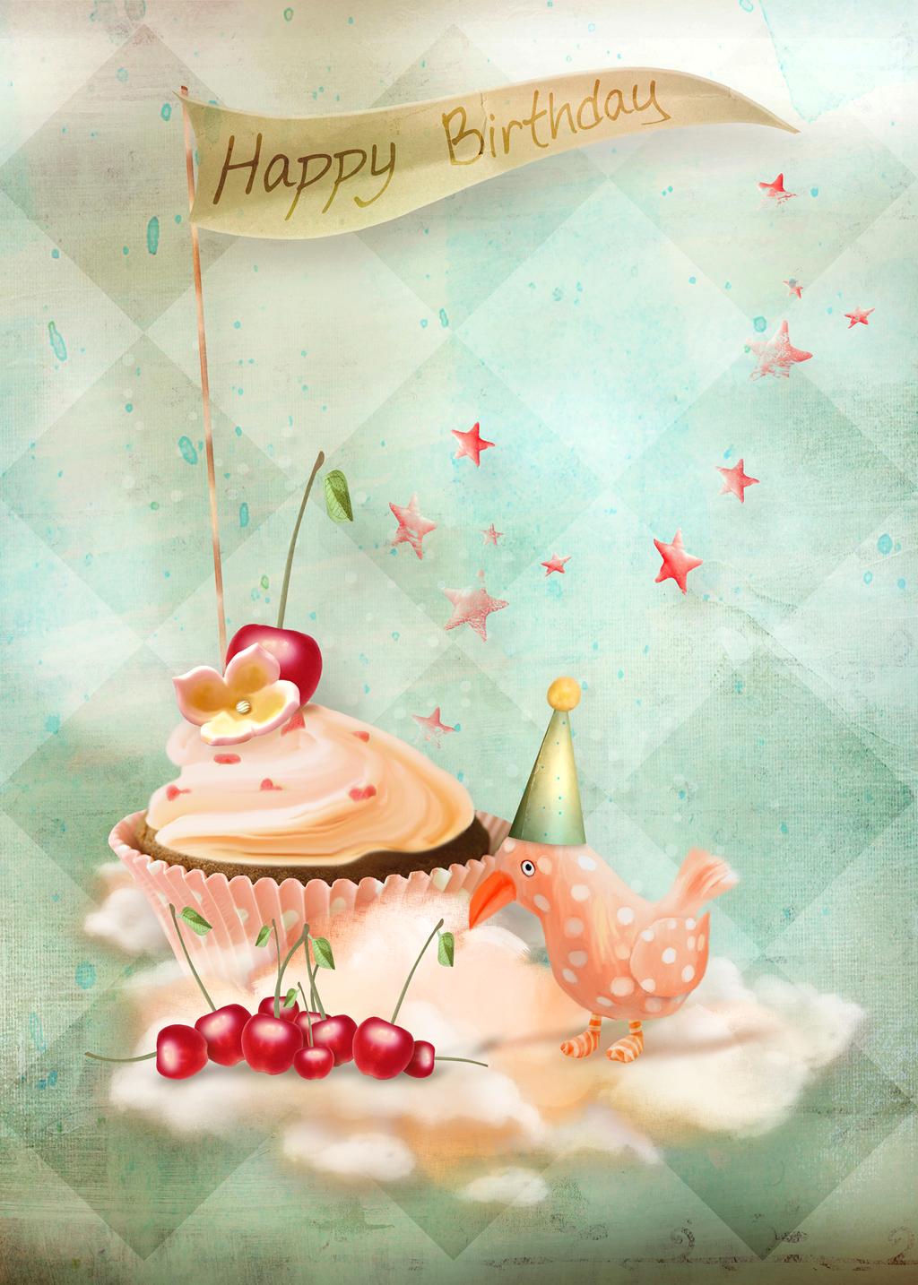 Акварельный фон для открытки с днем рождения