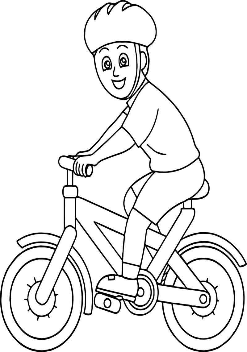Bicycle Rider Wearing Helmet Boy Classroom Coloring Page Coloring Pages Turtle Coloring Pages Coloring Pages For Kids