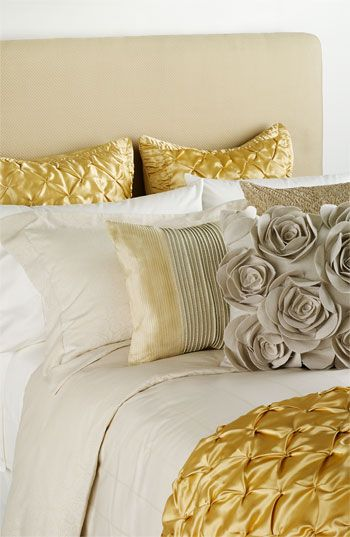 Silver and Gold bedding, flower pillow