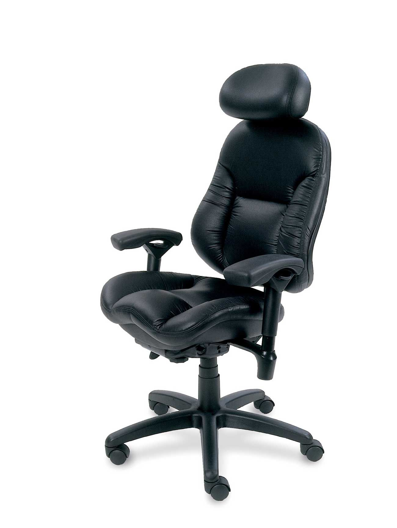 Bodybilt Black Leather Ergonomic Desktop Chair Office Chair Comfortable Computer Chair Ergonomic Desk Chair