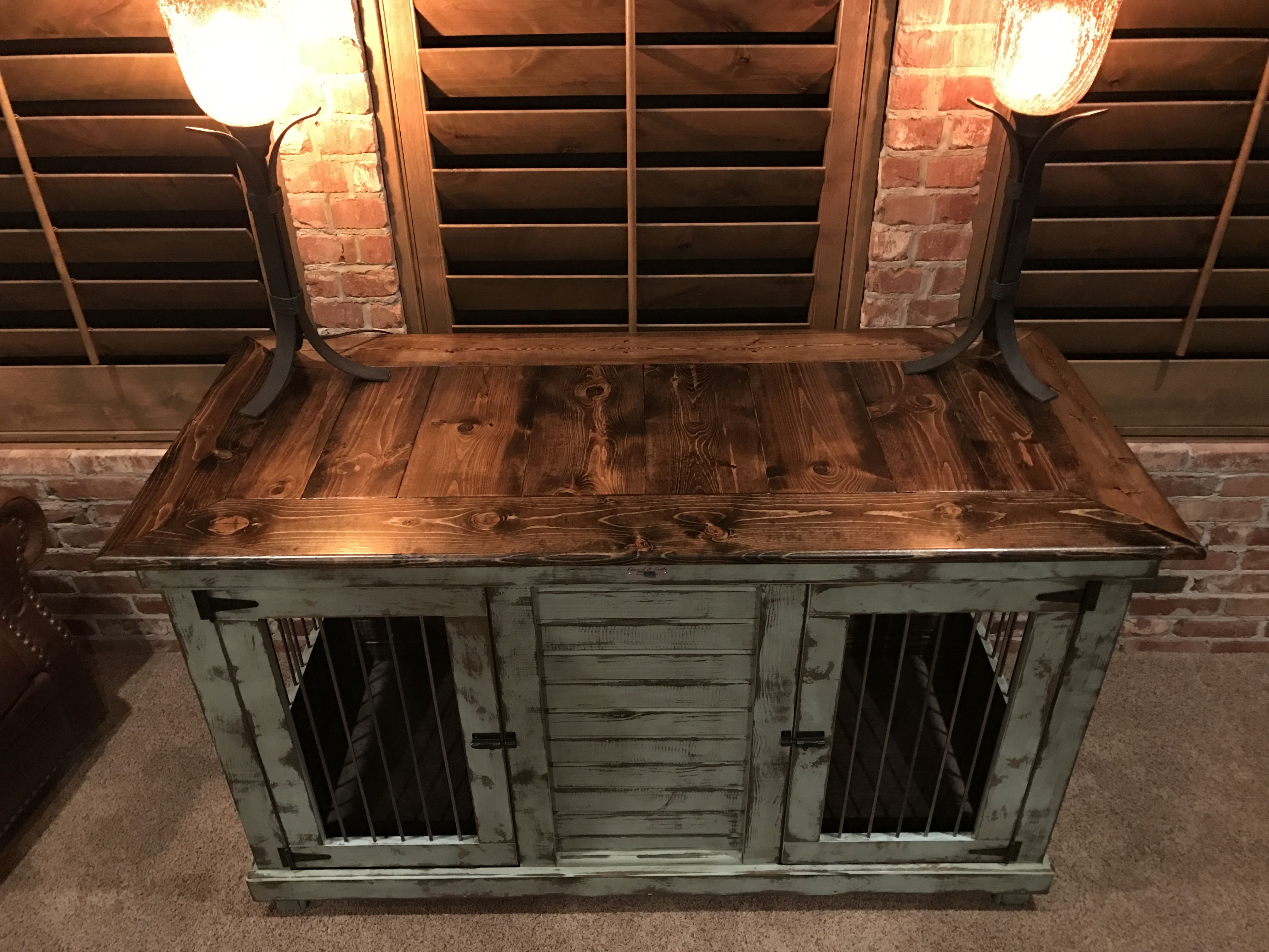 Urban farmhouse design with birdsong blue distressed paint for Design indoor dog crate