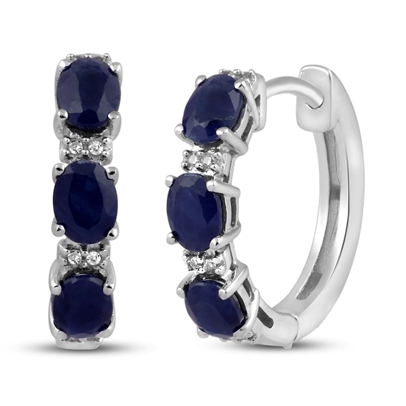Natural Sapphire Diamond Hoop Earrings 10k White Gold Kay In 2020 Diamond Hoop Earrings White Gold White Gold Hoops