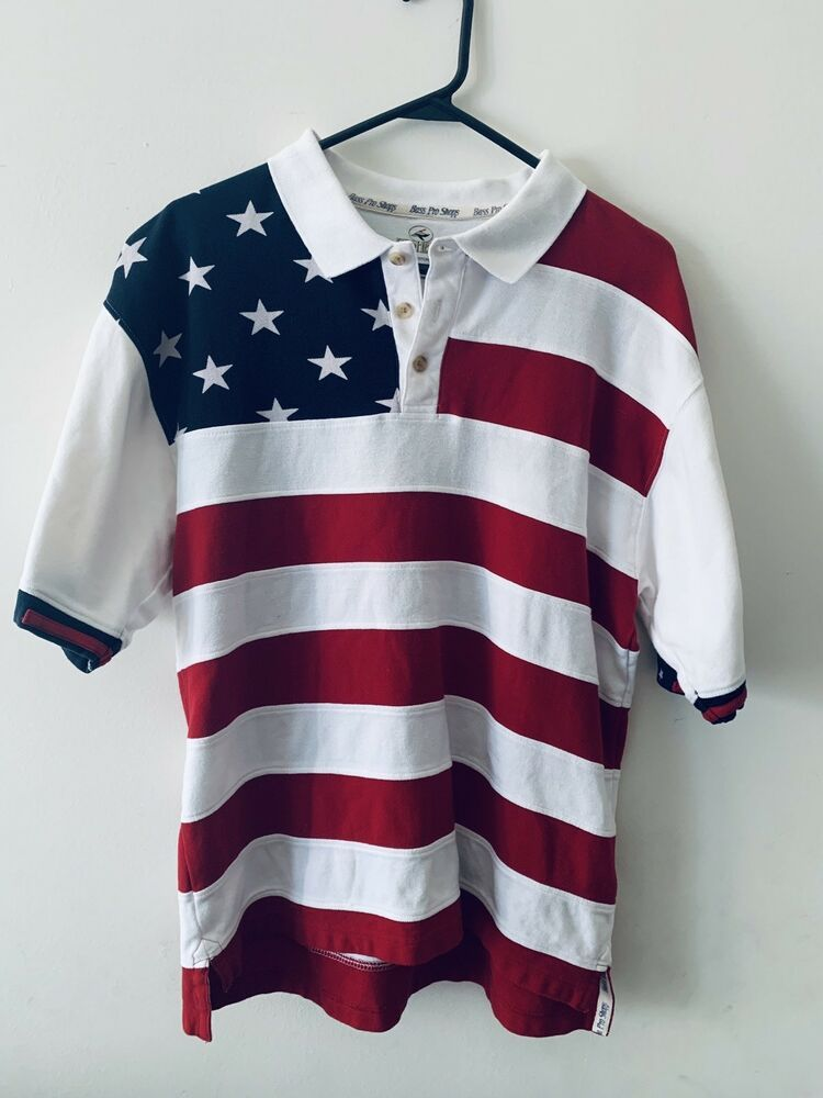 American flag polo shirt perfect for 4th of july size