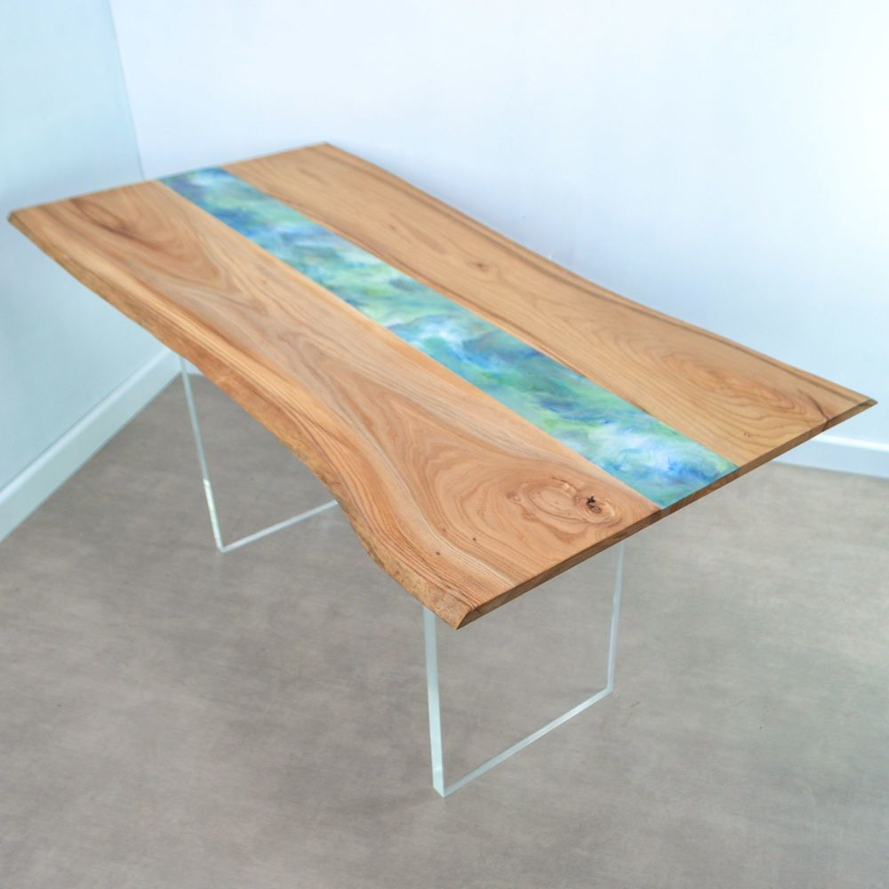 Live edge resin art dining table on clear acrylic legs www francesbradley net