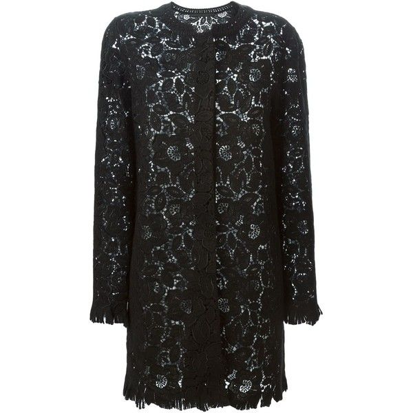 Ermanno Scervino embroidered lace coat ($1,830) ❤ liked on Polyvore featuring outerwear, coats, black, embroidered coat, black lace coat, lace coat, ermanno scervino and black coat