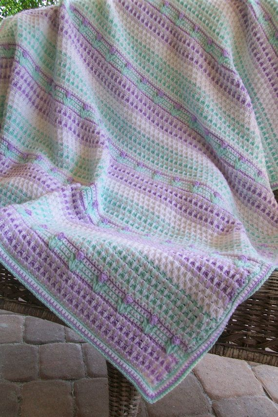 Spring Green and Lavender Baby/Toddler Blanket with tiny flowers ...