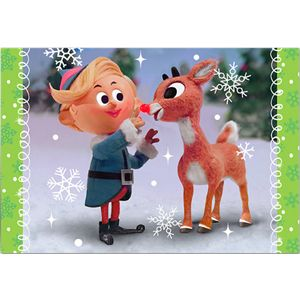 "Celebrate the holidays and the 50th Anniversary of this timeless holiday classic embellished with snowy glitter details.  This box set features 18 cards and envelopes with the iconic image of Rudolph touching Hermey's nose.  The inside message reads, ""Hope your holly jolly Christmas goes down in history!"""
