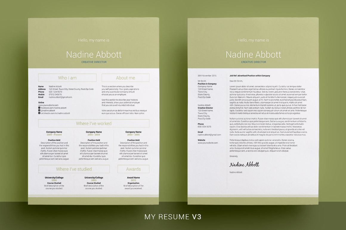 Stylish Resume/CV & Cover Letter  5 Colors  Easy edit templates