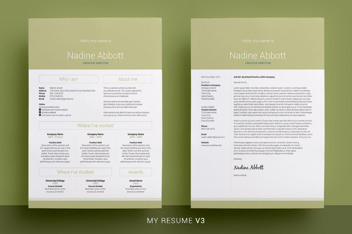 My Resume Bundle Indesign Resume Template Microsoft Word Resume Template My Resume