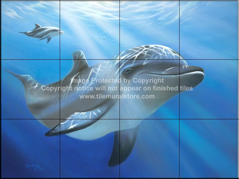 This Beautiful Artwork By Geno Peoples Has Been Digitally Reproduced For Tiles And Depicts A Closeup Of A Dolphin Our Dolphin T Tile Murals Mural Mermaid Tile