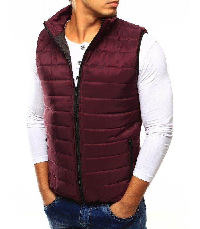 Pánska bordová prešívaná vesta bez kapucne  5e22508c765