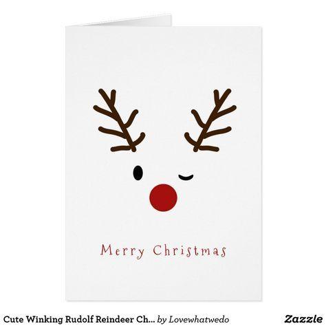 Cute Winking Rudolf Reindeer Christmas Holiday Card | Zazzle.com -   14 holiday Cards template ideas