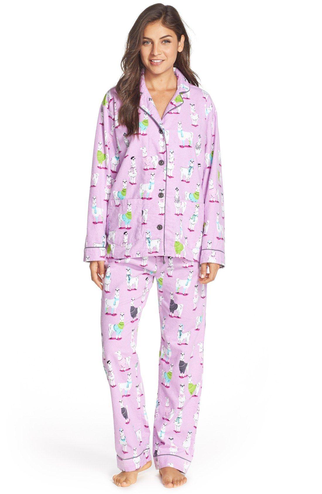 7c3ef51834 Fa-la-la-llama! PJ Salvage Print Flannel Pajamas