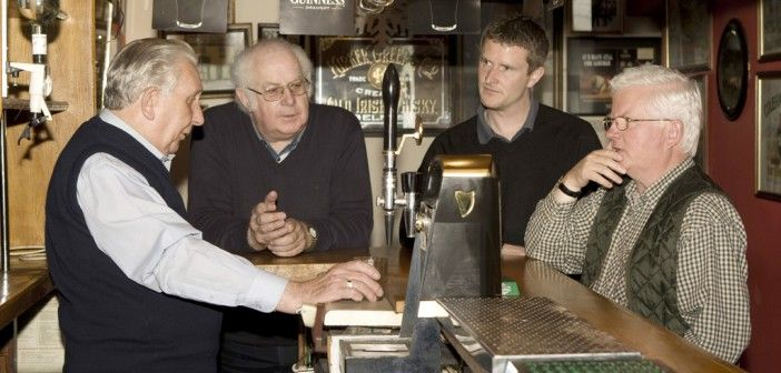 A life dedicated to the music. Tom Queally, Harry Hughes, Seamus O'Rochain and Eamon McGivney in Queally's bar Miltown Malbay.