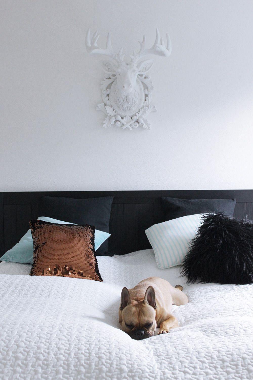 schlafzimmer mit ikea kare und frenchie tirolblog living pinterest deko und hirsche. Black Bedroom Furniture Sets. Home Design Ideas