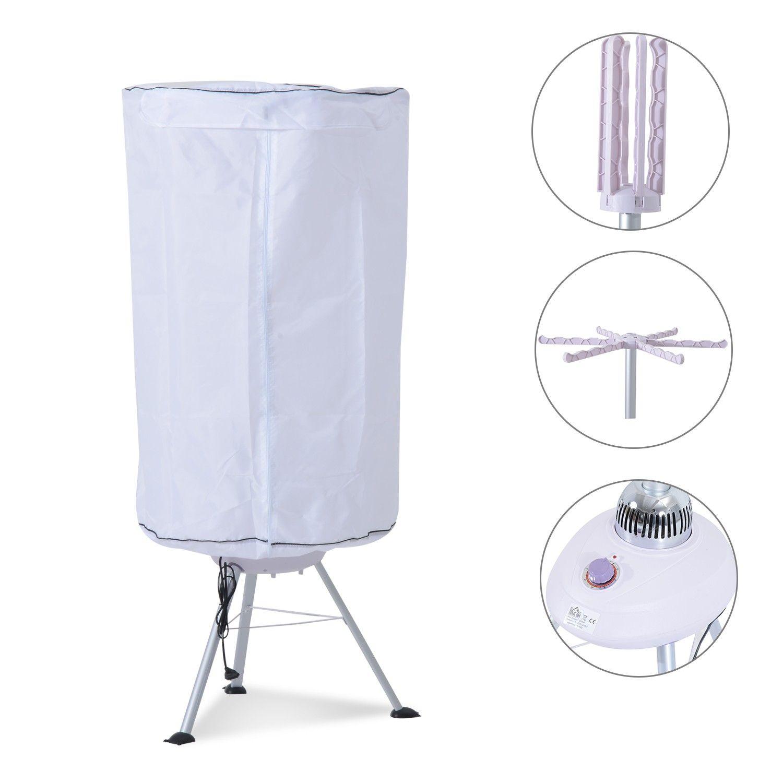 Homcom Portable Hot Air Electric Clothes Dryer 900w White