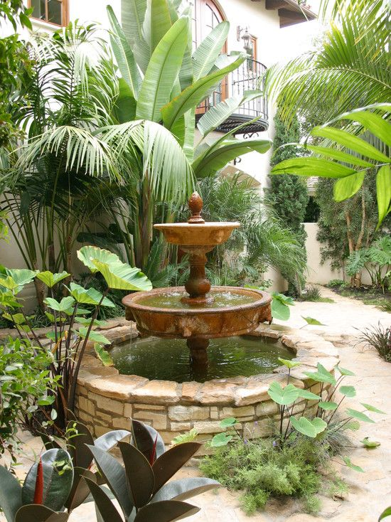 Spanish Style Home Design Idea Stunning Garden Decor Colombatto Oceano House Small Fountain Squar