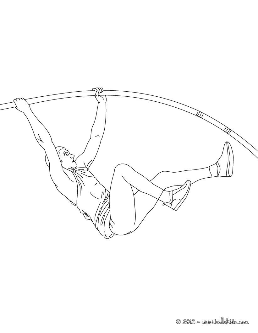 Pole Vault Athletics Coloring Page More Sports Coloring Pages On Hellokids Com Sports Coloring Pages Coloring Pages Pole Vault