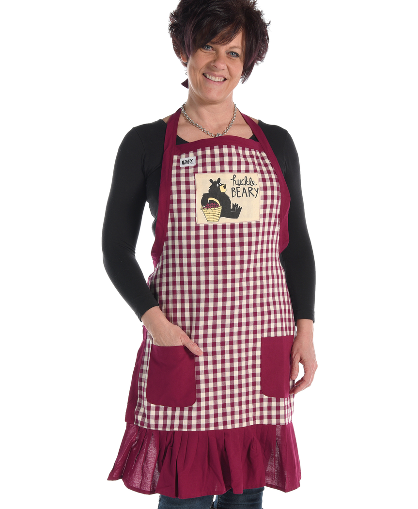 99def4f6bc Adorable plaid apron with ruffle and bear design by Lazy One®. Look cute  while