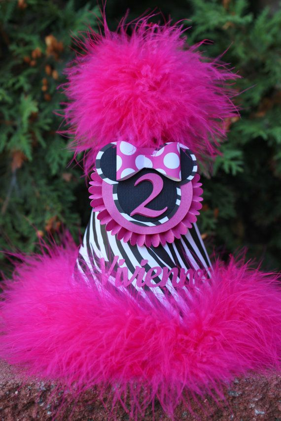 Minnie Mouse Zebra Birthday Party Hat Personalized Zebra