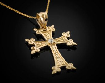 Gold Armenian Apostolic Cross Diamond Charm Necklace (10k, 14k, yellow, white, rose gold)