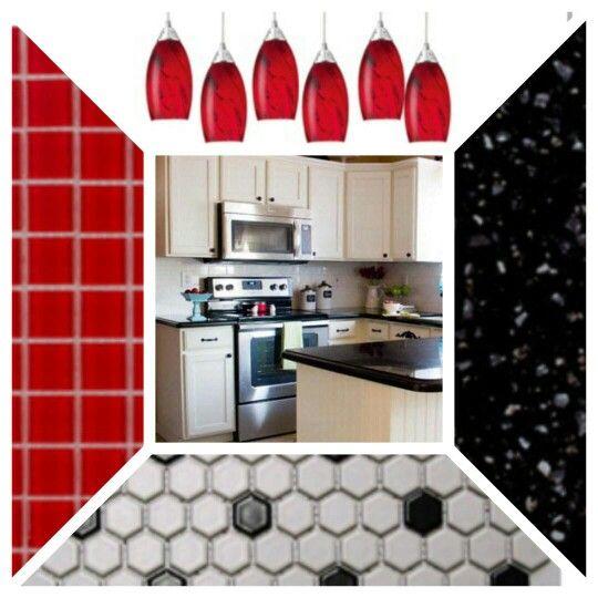 Download Wallpaper White Kitchen Cabinets With Red Backsplash