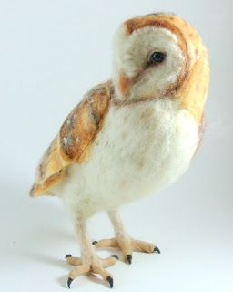 Needle Felted Art by Robin Joy Andreae: Stella, the Barn Owl