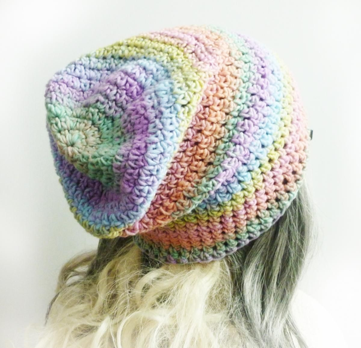a9a76d8fcc4 Pastel Rainbow Beanie Pink Girl Slouchy Beanie Women Hat Soft Crochet Beanie  Spring Fashion Yellow M on Luulla by Pina Colada