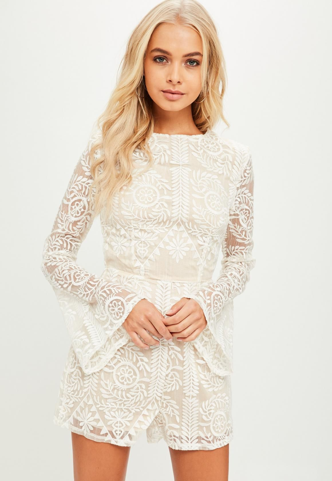 1b74e6fd2fe3 Missguided - Tall White Embroidered Playsuit Konfimation