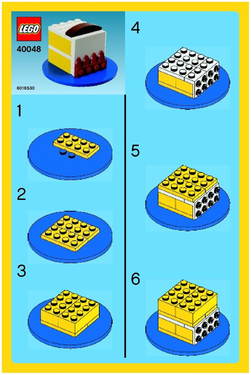 Download LEGO Instructions On Your Computer Or Mobile Device For Birthday Cake Set Number 40048 To Help You Build These Sets
