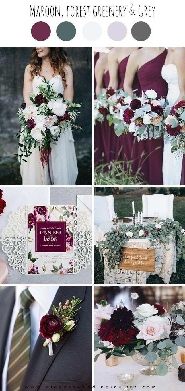 Maroon and white wedding decor  elegant maroonwhite and greenery fall wedding color inspiration