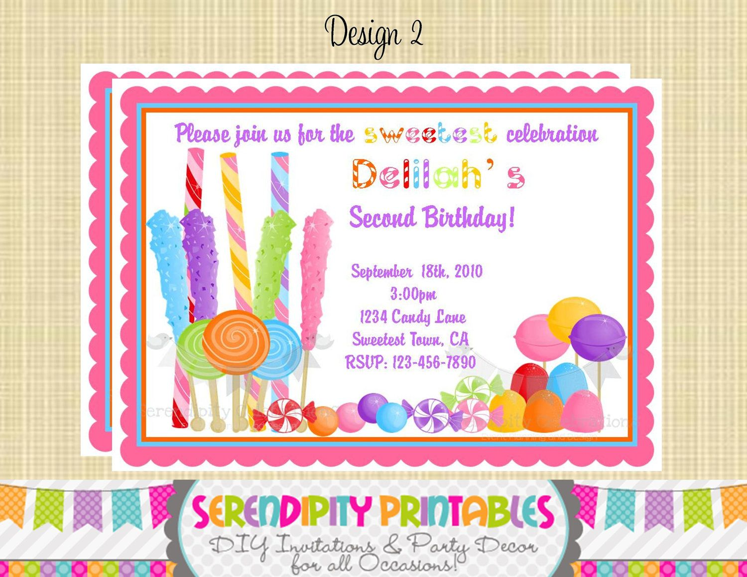 candyland invitation use for birthday by serendipityprintable