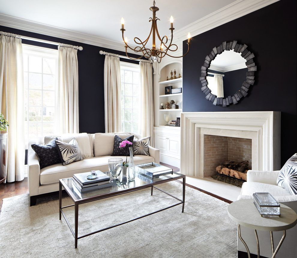 Beige and navy blue living room living room traditional with built ...