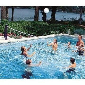 Swimways Poolside Volleyball Bump Set And Spike In Your Swimming Pool The Swimways Poolside Volleyball Is A Grea In 2020 Pool Volleyball Net Swimming Pool Water Pool
