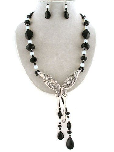 "Amazon.com: Designer Inspired Black and White Beaded Necklace with Silver Butterfly Charm and Earrings Set. 4.80"" Drop. Stones, Faceted Bead..."