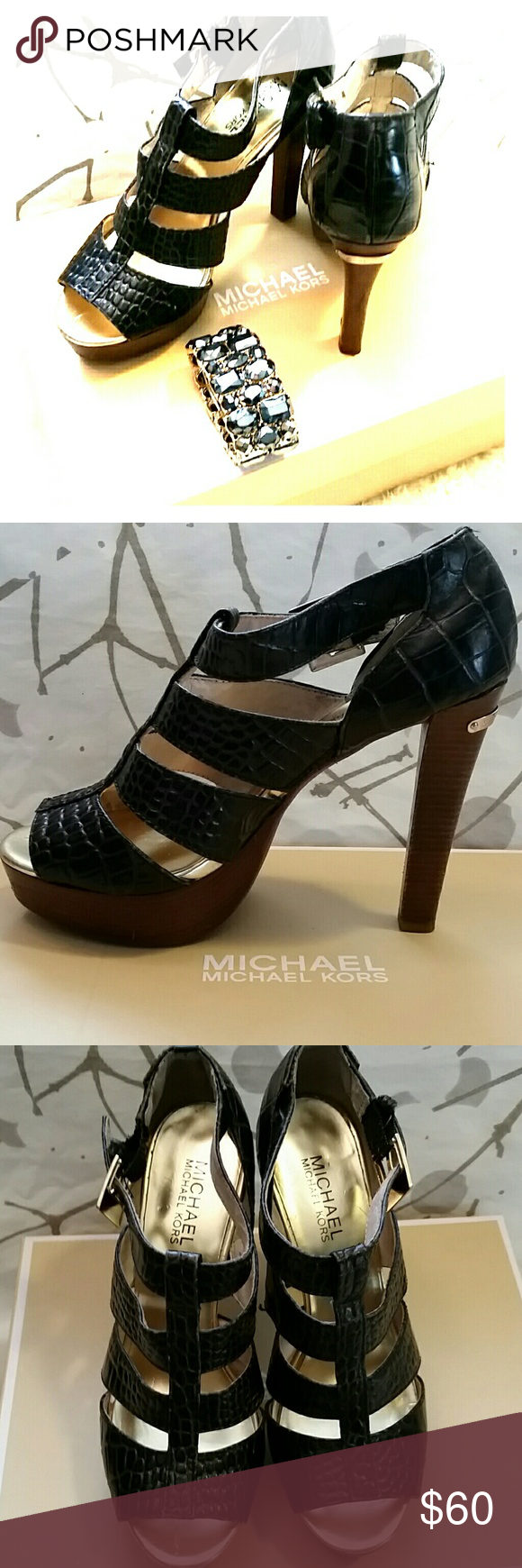 Black Michael Kors heels Black 3 inch Michael Kors heels, in nice condition, very comfortable fit MICHAEL Michael Kors Shoes Heels