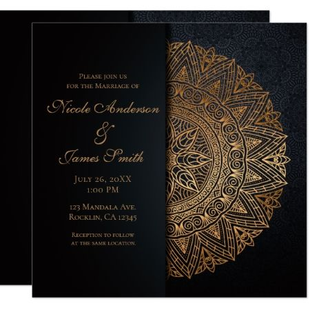Black Gold Mandala Elegant Wedding Marriage Invitation Zazzle Com Gold Mandala Marriage Invitations Black Wedding Invitations