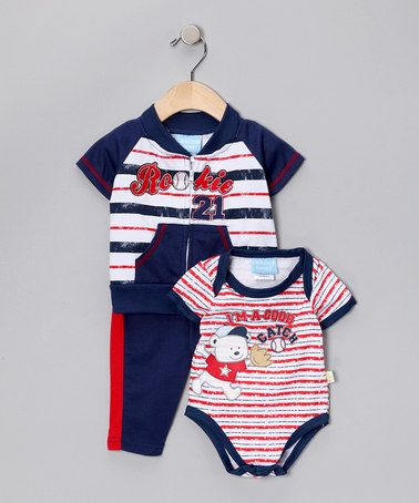 Take a look at this #fall Navy & Red 'Rookie' Jacket Set by Duck Duck Goose on #zulily today!