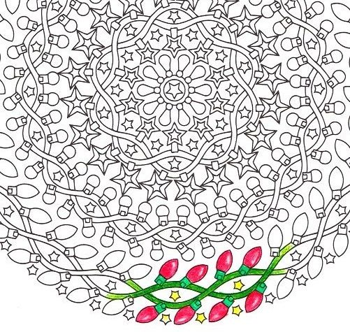 Night #Lights, a #printable #coloring #mandala of #twinkling #Christmaslights and #stars by #CandyHippie