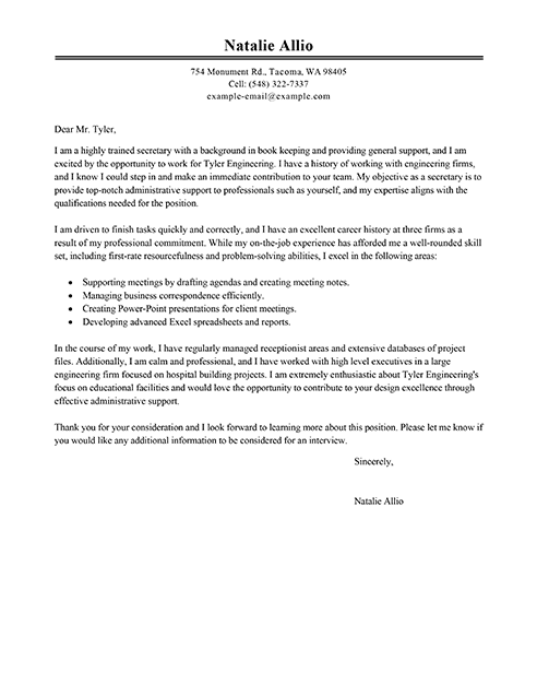 Big Secretary Cover Letter Example Business Pinterest