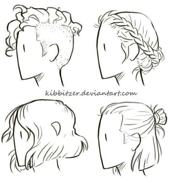 A Drawing Of Four Types Of Hairstyles Art Reference Drawing Tips Drawings