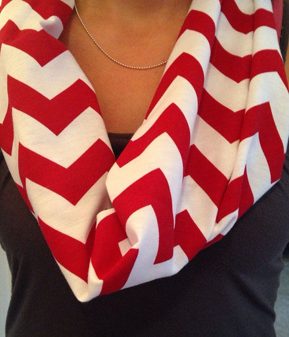 One Loop Red Chevron Scarf on Etsy, $10.00