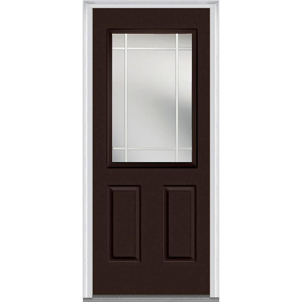 Milliken Millwork 37 5 In X 81 75 In Classic Clear Glass Pim 1 2 Lite Painted Majestic Steel Exterior Door Polished Mah Mmi Door Painted Paneling Front Door