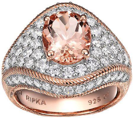 Judith Ripka Sterling/14K Rose Morganite & Diamonique Ring