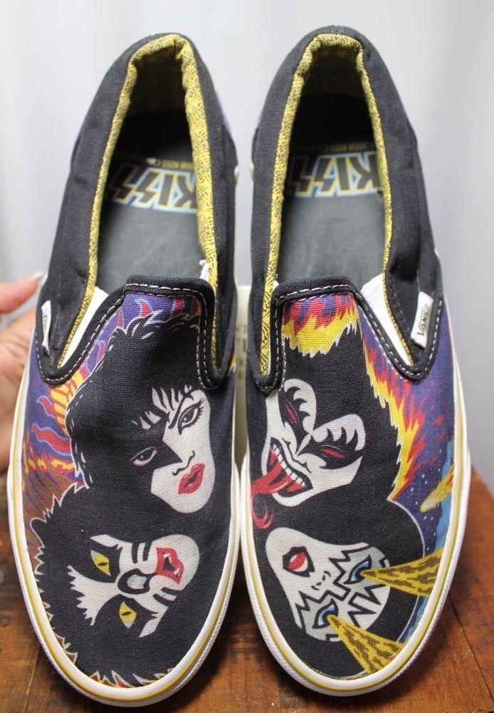 e1fa27ee24 Vans Kiss Rock   Roll All Over Black Canvas Slip On Loafer Shoe Men 7 Women…